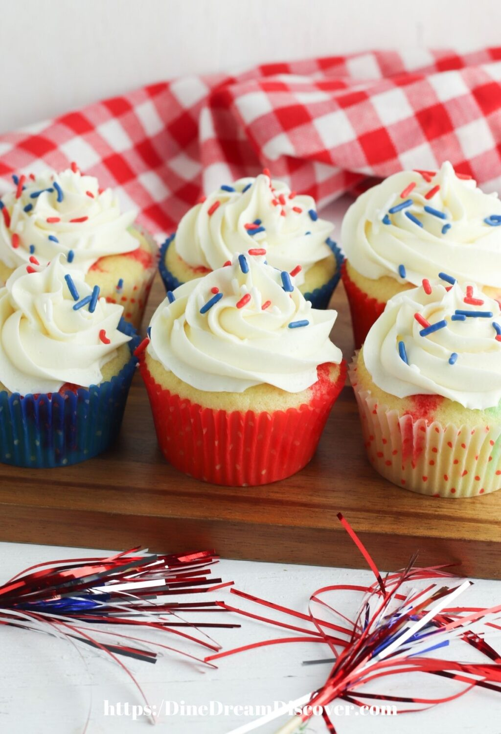 red, white, and blue Poke Cake Patriotic Cupcakes
