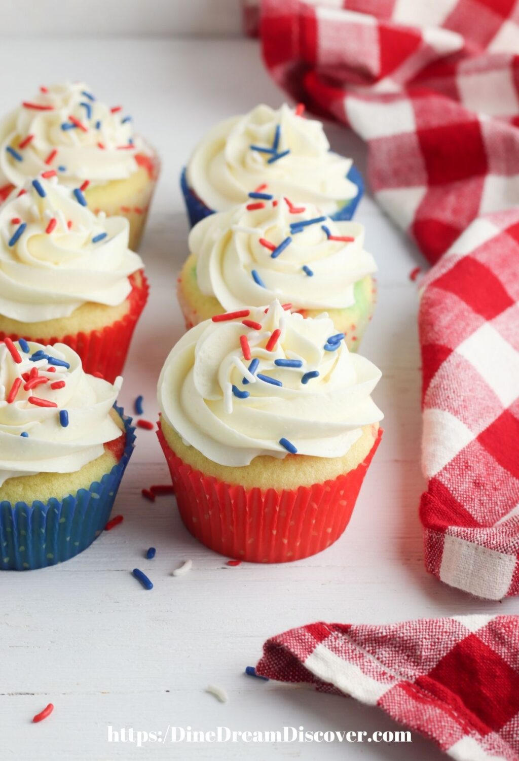 red, white, and blue sprinkles cupcakes