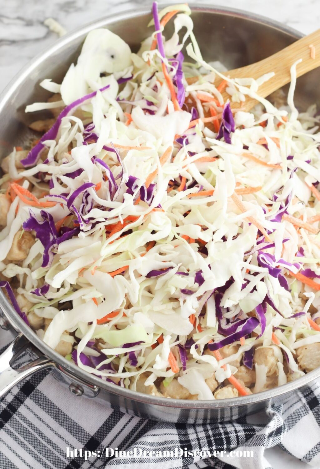 cole slaw mix in fry pan