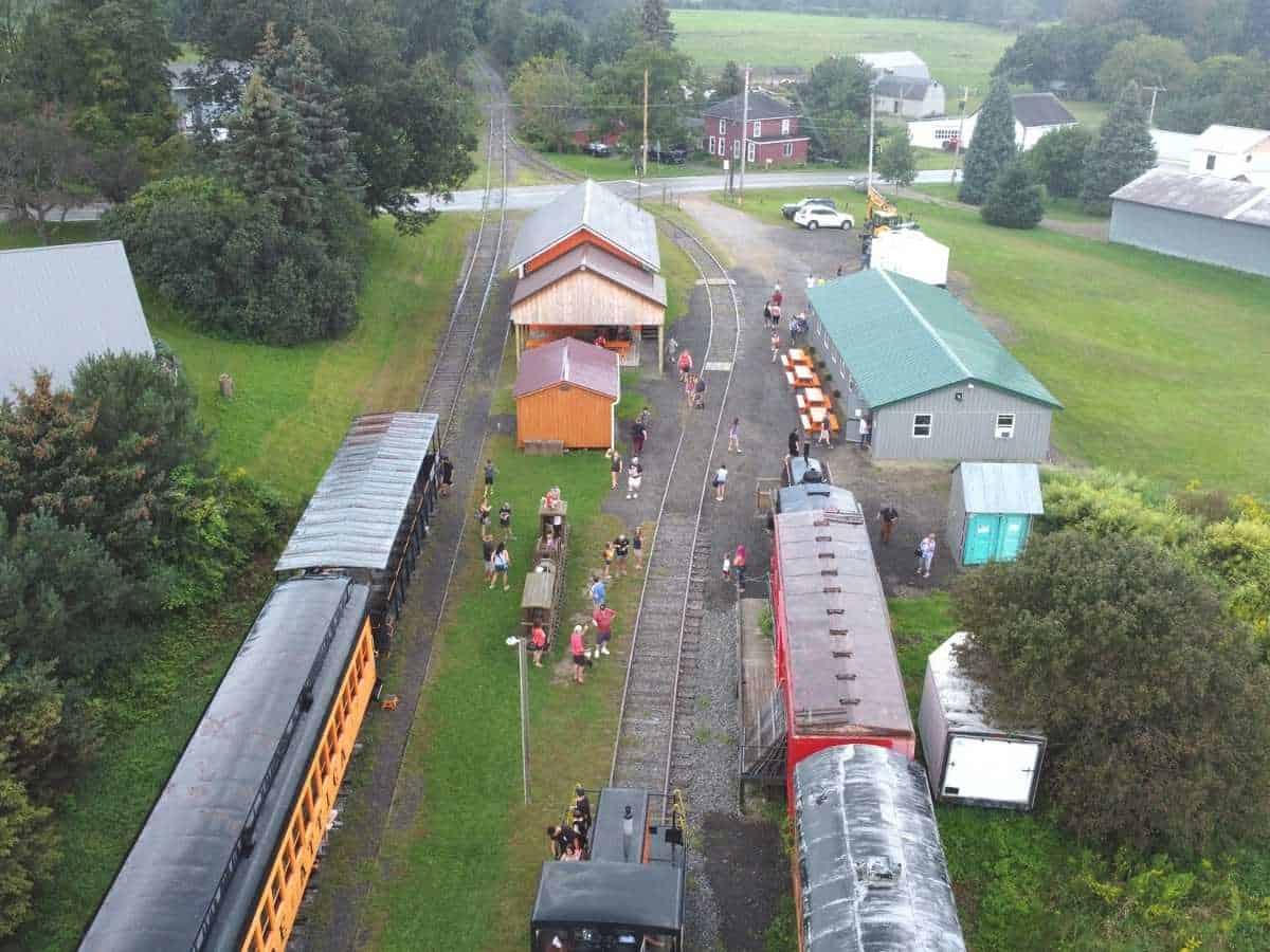 drone view of attica arcade train