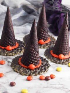Ice Cream Cone Witch Hats no-bake Halloween treats